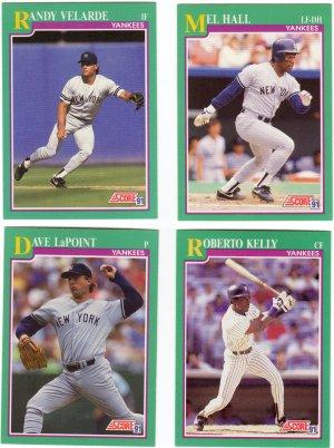 New York Yankees Baseball Trading Cards Lot of 4 Score 1991