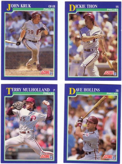 Baseball Trading Cards Philadelphia Phillies Score 1991 Lot of 4