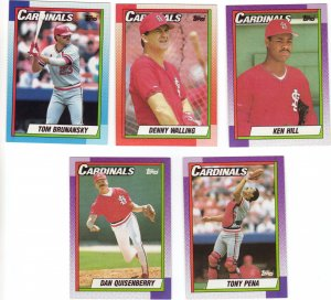 St. Louis Cardinals Baseball Trading Cards Lot of 5 Topps 1990