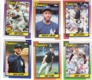 New York Yankees Baseball Trading Cards Topps 1990 Lot of 6