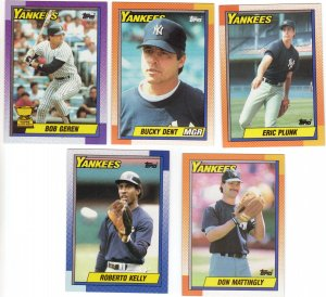 New York Yankees Baseball Trading Cards Topps 1990 Lot of 5