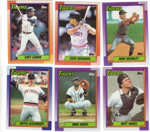 Detroit Tigers Baseball Trading Cards Topps 1990 Lot of 6