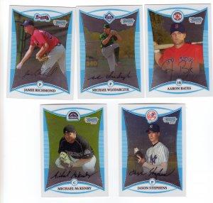 Topps 2008 Trading Cards Baseball (5) 1st Bowman Chrome