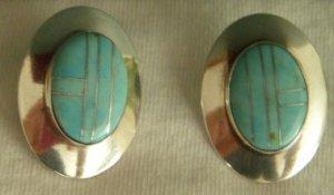 Navajo Oval Turquoise Pierced Earrings, Edith James