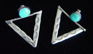Navajo Silver Triangle  Pierced Earrings with single Turquoise Stone