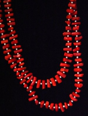 Navajo Two Strand Coral and Silver Necklace