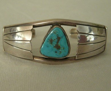 Navajo Ladies Silver Cuff Bracelet w/Single Turquoise Stone