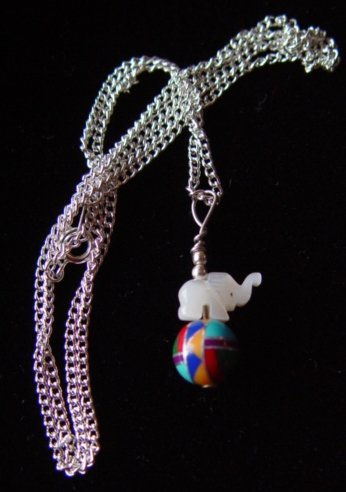 Zuni Small Multi Stone Carved Elephant Pendant Necklace - #1