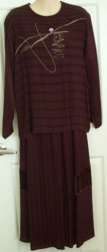 K.D. Spring Maroon/ Brown Tunic Top (S) with matching Skirt (L)