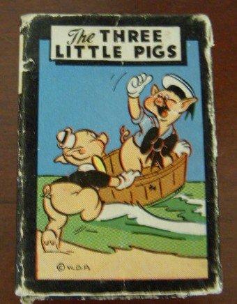 Vintage Walt Disney Three Little Pigs Miniture Card Game by Russell MFG., Circa 1946