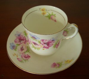 Colclough Bone China Cup and Saucer, 1940-1950's