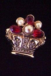 Vintage Crown Brooch Pin w/ Faux Pearls and Ruby Red Rhinestones