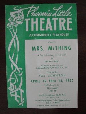 1955 Arizona Phoenix Little Theatre Souvenir Program, Mrs. McThing