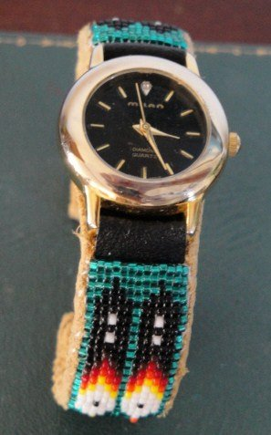 Home Accessories Stores >> Navajo Ladies Beaded Watch Bracelet with Prayer Feathers