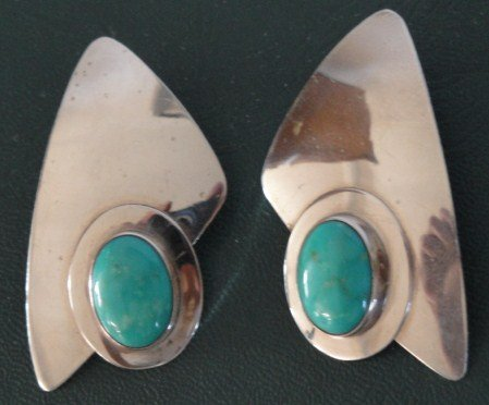 Navajo Contemporary Sterling Silver Pierced Earrings w/ Turquoise Stone,Signed B. Chee