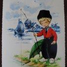 Dutch Boy Fishing Post Card Postcard, Unused