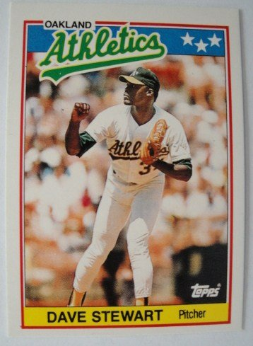 1988 Topps Mini Baseball Card, Dave Stewart, Athletics