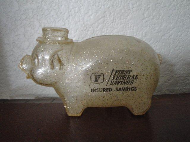 Vintage 1950's Plastic Arizona First Federal Savings Advertising Piggy Bank