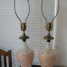 Vintage Pair 1950's Decor Table Lamps, Pink & Gold Glass
