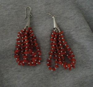 Navajo Coral and Silver Pierced Dangle Earrings