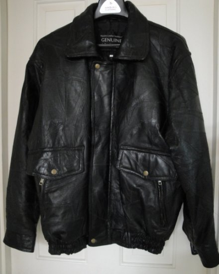 Men's Black Leather Napoline Motorcycle  Jacket, Size Large