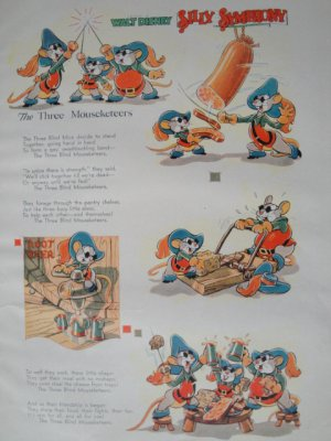 Walt Disney The Three Mouseketeers Silly Symphony Print from Book
