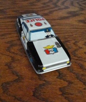 1960's Tin Litho Friction Police Patrol Car