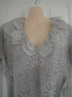 Vintage Elizabeth Arden Silver Formal Evening Dress, Size 8