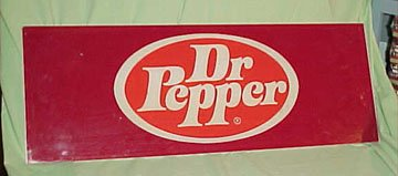 Dr. Pepper Vending Machine Sign with Maroon DP Oval Logo * Soda Pop Advertsing Sign