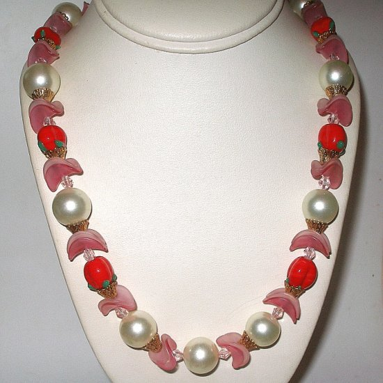 Art Glass Faux Pearl Bead Necklace Vintage Newly Restrung