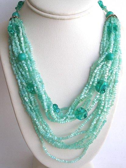 Satin Glass 15 strand Bib style 1950s Mint Green Necklace