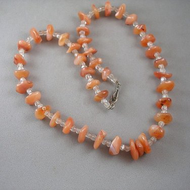 Agate Nuggets & Vintage Czech Glass Bead Necklace