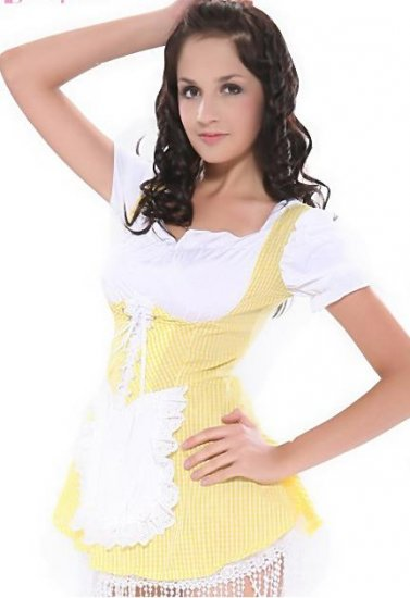 LC8048-3 Yellow Gingham Peasant Country Girl Costume