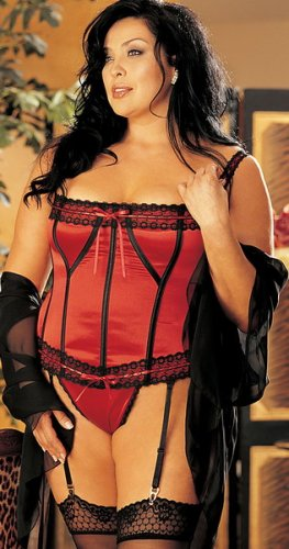 LC0255-2 Plus Size Red Stretch Satin Corset