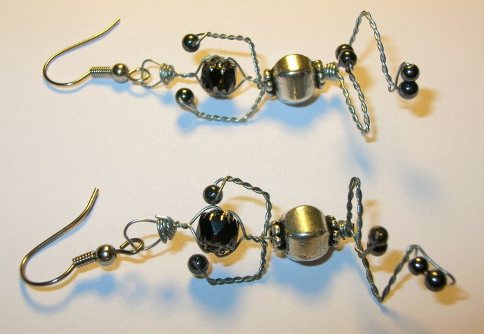 Yoga Wire Wrapped Figures on earrings