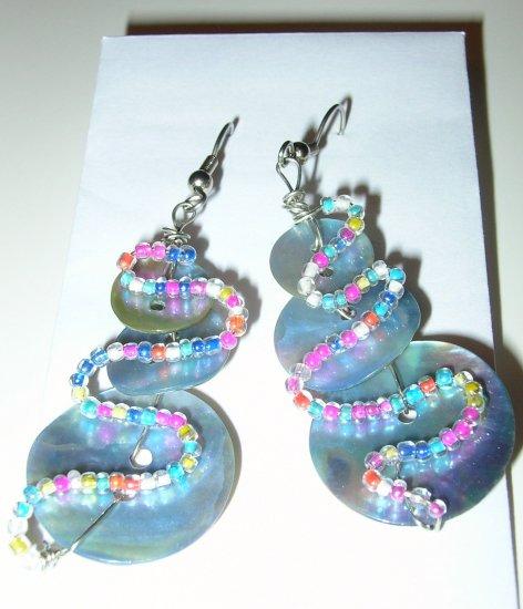 Unique Bead Button Snowmen style earrings