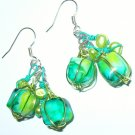 Glass bead, pearls and wire wrapped earrings