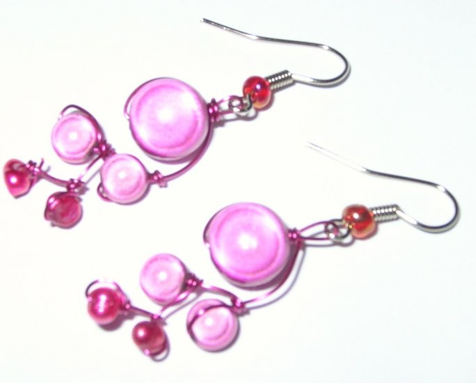 Pink Party vine earrings