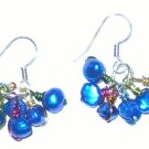 Wire wrapped shocking blue pearl earrings