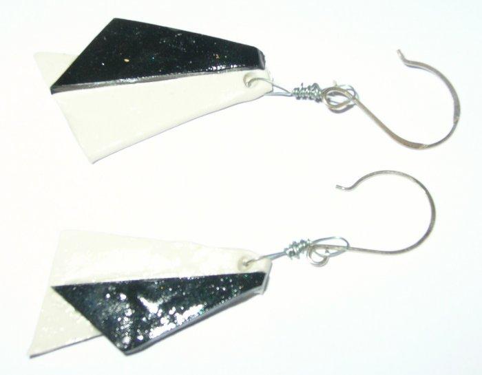 Black and white geometric design earrings