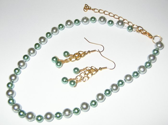 Teal Glass Pearl necklace and earring set