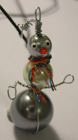 Snowman on nylon cord necklace