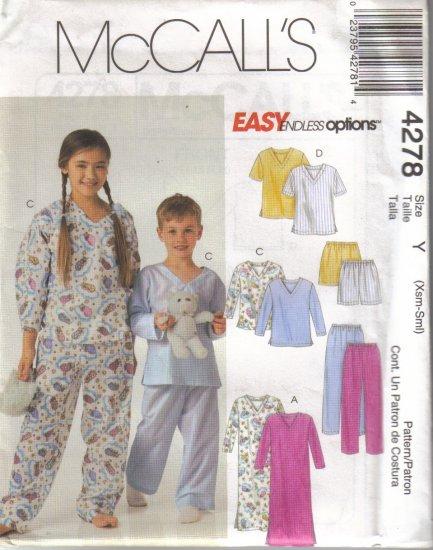 4278 McCalls Easy Endless Options  Boys-Girls Pajamas
