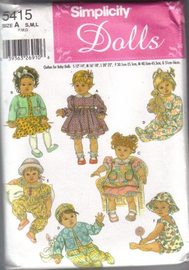 5415 Simplicity Dolls-Clothes