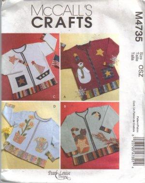M4735 McCalls Crafts-Seasonal Appliques for Sweatshirts