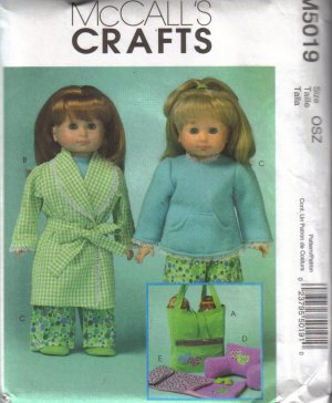 """M5019 McCalls Crafts-19"""" Doll Clothes & Accessories"""