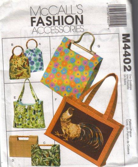 M4402 McCalls Fashion Accessories-Handbags & Totes