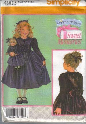 4903 Simplicity Daisy Kingdom Dress and Doll Clothes 3-6