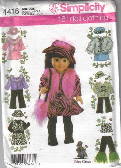 """4416 Simplicity 18"""" Doll Clothes"""