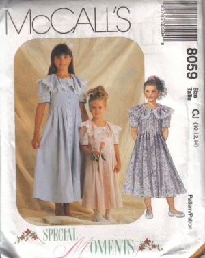 8059 McCalls Special Moments Childrens & Girls Dresses 10-14